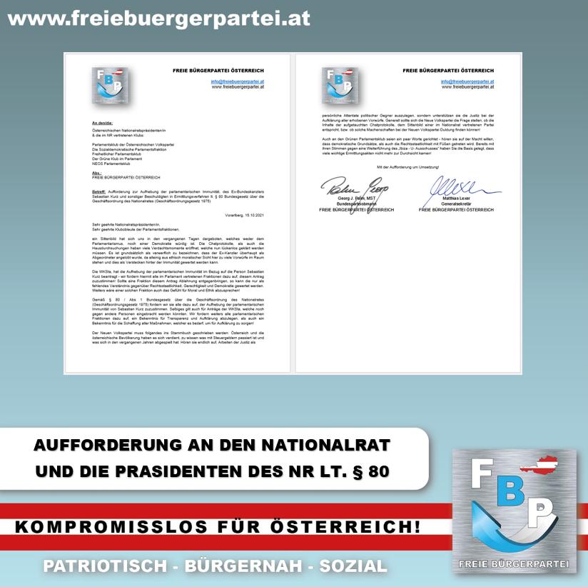 Aufforderung zur Aufhebung der parlamentarischen Immunität, des Ex-Bundeskanzlers Sebastian Kurz lt. § 80 Bundesgesetz über die Geschäftsordnung des Nationalrates